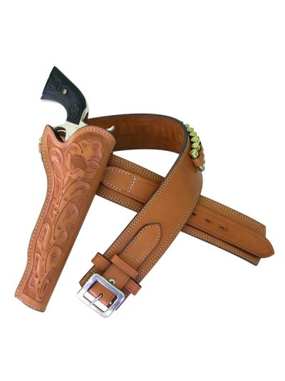 Slim Rig - Tan, Plain Belt with Floral Hand-Tooled
